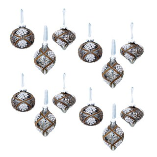 Sage & Co Sage & Co. Vintage Patterned Beaded Glass Christmas Ornaments (Pack of 12)