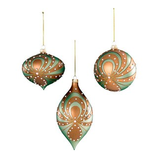 Sage & Co Sage & Co. Glass With Pearl Swirl Christmas Ornament (Pack of 6)