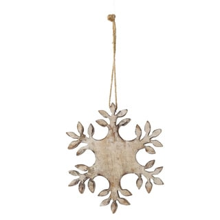 Sage & Co Sage & Co. 8-inch Carved Wood Snowflake Christmas Ornaments (Set of 4)