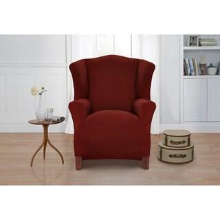 Basketweave Wingback Chair Slipcover