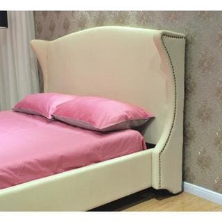 King Cream Fabric Platform Bed