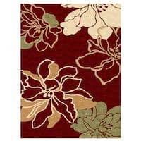 Linon Milan Collection Red/ Ivory Area Rug - 8' x 10'3
