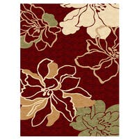 Linon Milan Collection Red/ Ivory Area Rug (5' x 7'7)