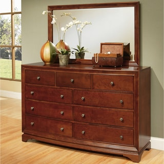 ABBYSON LIVING Kingston Walnut 9-drawer Dresser and Mirror Set
