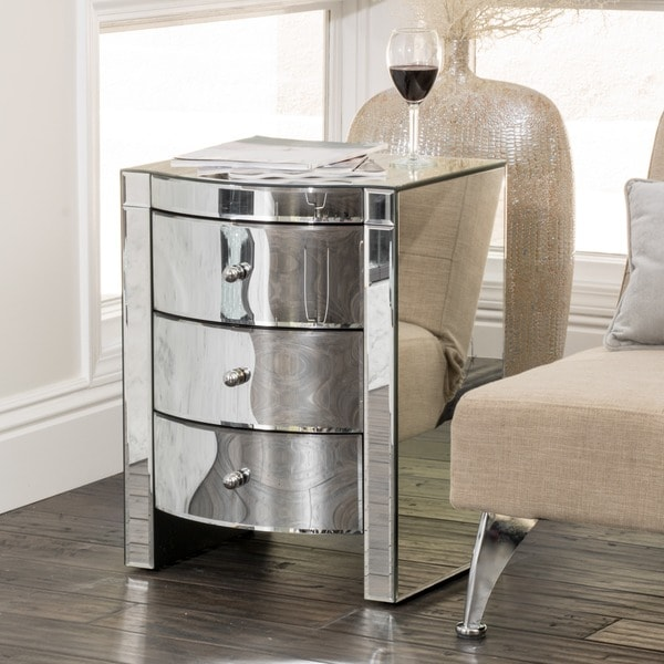 Charmant Roxie Mirrored Three Drawer Side Table By Christopher Knight Home
