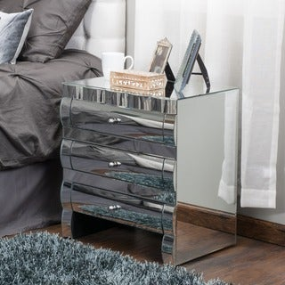 Coyle Mirrored Three-Drawer Cabinet by Christopher Knight Home