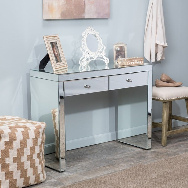 Roxie Mirrored Two Drawer Console Table By Christopher Knight Home   Free  Shipping Today   Overstock.com   16741369