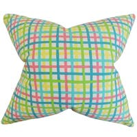Manon Plaid Pink Feather-filled Throw Pillow