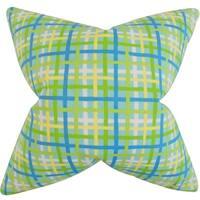 Manon Plaid Turquoise Feather-filled Throw Pillow