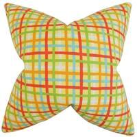 Manon Lemon Plaid Feather-filled Throw Pillow
