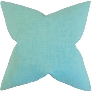 Leda Solid Turquoise Feather-filled Throw Pillow