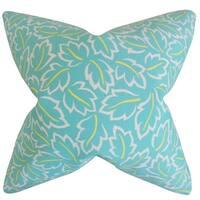 Kateri Foliage Turquoise Feather-filled Throw Pillow