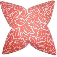 Kateri Foliage Poppy Feather-filled Throw Pillow