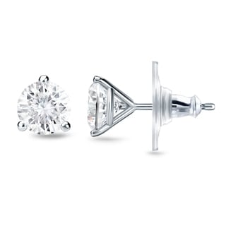 New Auriya 14k Gold 1ct TDW Round 3-prong Diamond Stud Earrings (H-I, SI1-SI2)