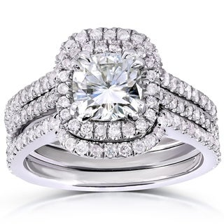 Annello by Kobelli 14k White Gold Cushion-cut Moissanite and 3/4ct TDW Diamond Bridal Ring Set