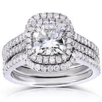 Annello by Kobelli 14k White Gold 1 7/8ct TGW Cushion-cut Moissanite (HI) and Diamond Halo Bridal Rings Set (3 Piece Set)