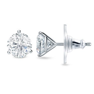 New Auriya 14k Gold 2ct TDW Certified 3-prong Diamond Stud Earrings (H-I, SI1-SI2)