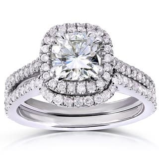 annello by kobelli 14k white gold 1 35ct tgw cushion cut moissanite - Wedding Set Rings