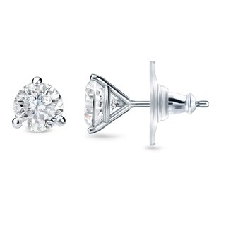 New Auriya 14k Gold 1/2ct TDW Round 3-prong Diamond Stud Earrings (H-I, SI1-SI2)