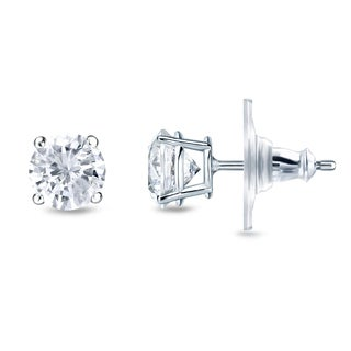 New Auriya 14k Gold 1/4ct TDW Round 4-prong Diamond Stud Earrings (H-I, SI1-SI2)