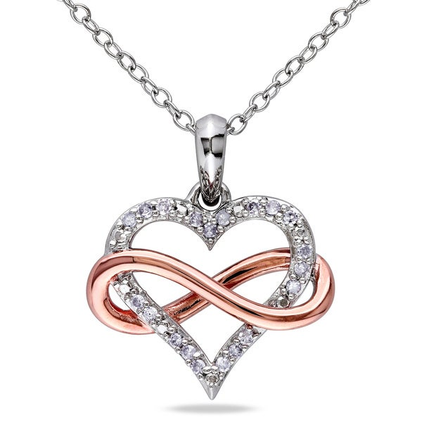 44171356c9 Miadora Two-Tone Sterling Silver 1/10ct TDW Diamond Infinity Heart Necklace