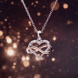 Miadora 1/10ct TDW Diamond Interlaced Infinity Open Heart Necklace in 2-Tone White and Rose Plated Sterling Silver (G-H, I2-I3)