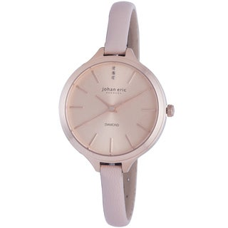 Johan Eric Women's Herlev Slim Analog Display Genuine Beige Leather Diamond Watch
