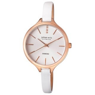 Johan Eric Women's Herlev Slim Analog Display Genuine White Leather Diamond Watch