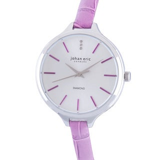 Johan Eric Women's Herlev Slim Analog Display Genuine Purple Leather Diamond Watch