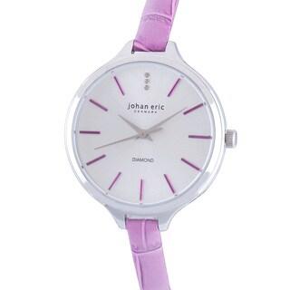 Johan Eric Women's Herlev Slim Analog Display Genuine Purple Leather Diamond Watch