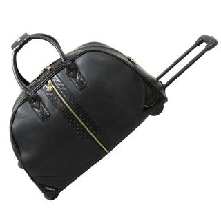 Hang Accessories Black Textured Braid Weekender Rolling Upright Duffel Bag