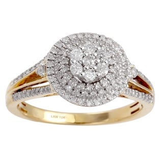 10k Yellow Gold 1/2ct TDW Diamond Cathedral Ring (H-I, SI1-SI2)