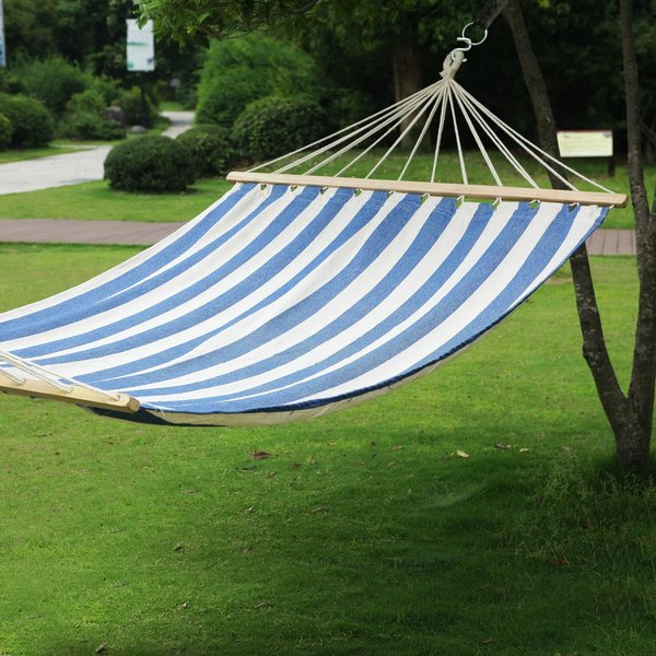 adeco two person hammock with spreader bar blue stripe 140 inch length adeco two person hammock with spreader bar blue stripe 140 inch      rh   overstock