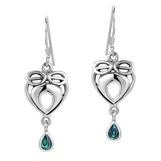 Infinite Love Heart Stone Inlaid .925 Silver Earrings (Thailand)