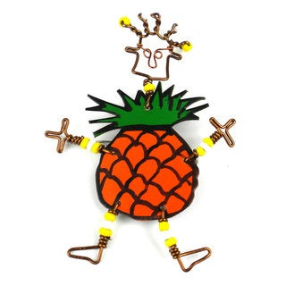 Handmade Dancing Girl Pineapple Pin (Kenya)