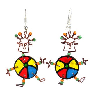 Handmade Dancing Girl Beach Ball Earrings (Kenya)