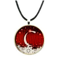 Wintry Red and White Snowflake Monogram Pendant Necklace