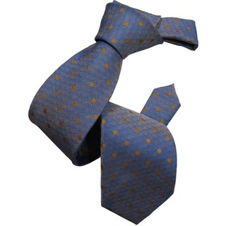 Dmitry Men's Blue Polka Dot Pattern Italian Silk Tie