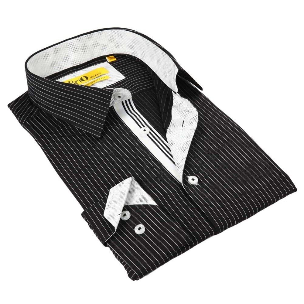 BRIO Milano Men's Black/ White Striped Button Down Fashio...