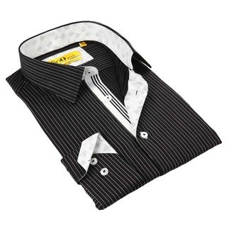 Brio Milano Men's Black/ White Striped Button Down Fashion Shirt