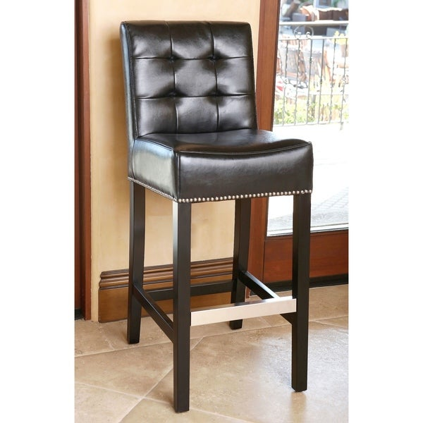 Shop Abbyson Masimo Black Leather Barstool Overstock