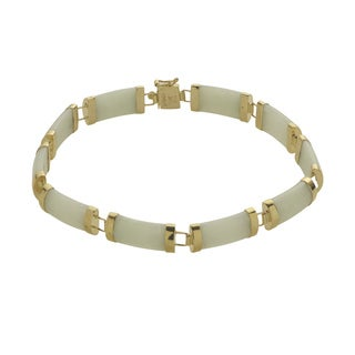 Gems for You 14k Gold Green Jade Bracelet