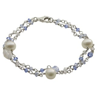 Pearls for You Sterling Silver White Freshwater Pearl Crystal 2-row Bracelet (7-8 mm)