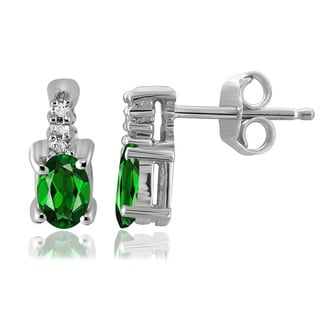 Rhodium-plated Silver Chrome Diopside and Diamond Accent Earrings