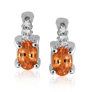 Rhodium-plated Silver Mandarin Garnet and Diamond Accent Earrings