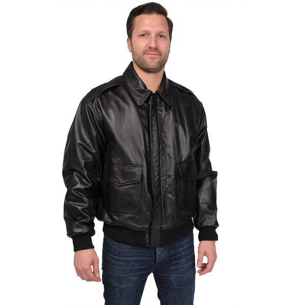Excelled Mens Big and Tall A-2 Classic Leather Bomber Jacket