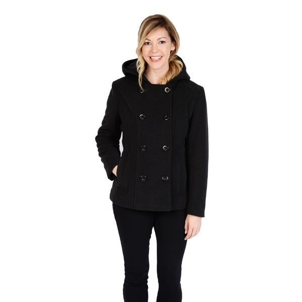 Excelled Women's Faux Wool Hooded Peacoat - Free Shipping Today ...