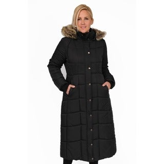 Link to EXcelled Plus Full Length Quilted Faux Fur Trim Hood City Coat Similar Items in Women's Outerwear