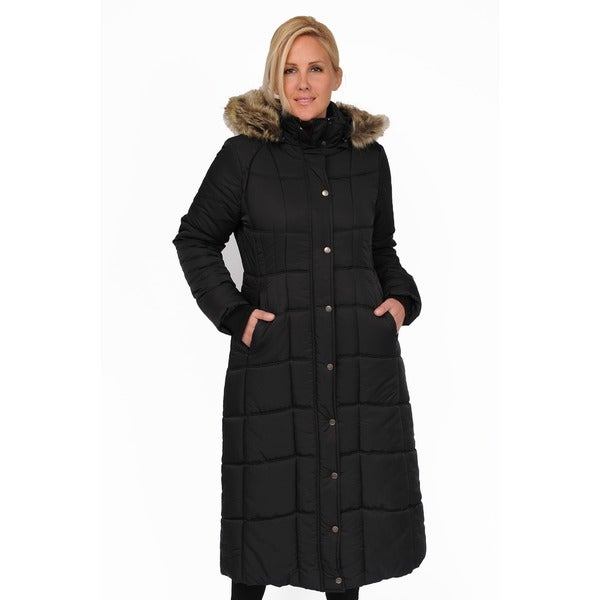 EXcelled Plus Full Length Quilted Faux Fur Trim Hood City Coat. Opens flyout.