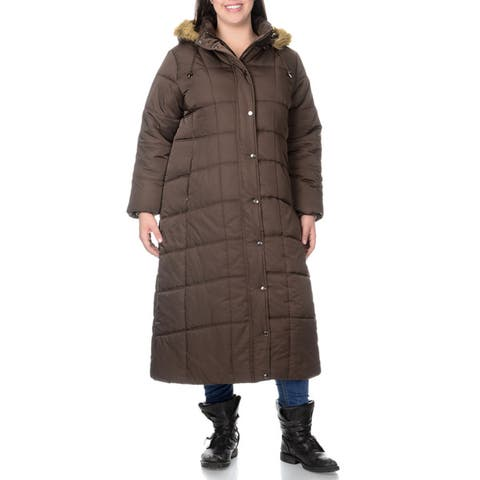 EXcelled Plus Full Length Quilted Faux Fur Trim Hood City Coat